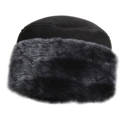 Aston Leather Shearling Rounded Hat (For Men) in Black Suede