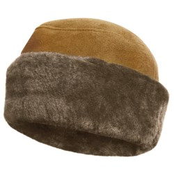 Aston Leather Shearling Rounded Hat (For Men) in Gold Suede