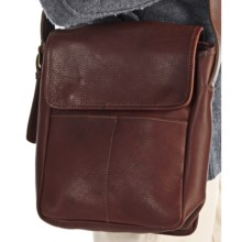 Aston Leather Shoulder Bag in Brown Pebble Grain - Closeouts