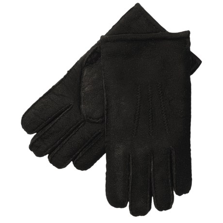 Aston Leather Top-Stitched Gloves - Shearling (For Men) in Black Suede
