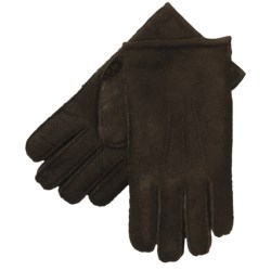 Aston Leather Top-Stitched Gloves - Shearling (For Men) in Brown Suede