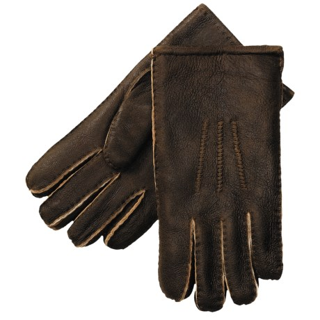 Aston Leather Top-Stitched Gloves - Shearling (For Men) in Rugged Castano