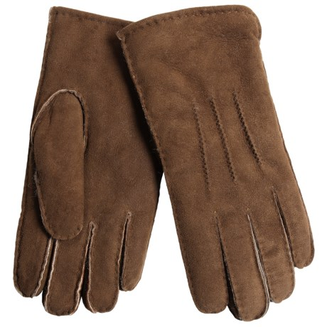 Aston Leather Top-Stitched Gloves - Shearling (For Men) in Suede Castano