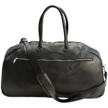 Aston Leather Top-Zip Duffel Bag in Black - Closeouts