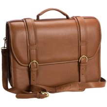 Aston Leather Triple-Compartment Briefcase - Removable Laptop Case in Tan - Closeouts