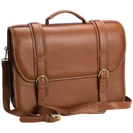 Aston Leather Triple-Compartment Briefcase - Removable Laptop Case in Tan