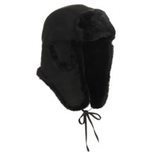 Aston Leather Vermont Hat - Shearling (For Men) in Black Suede - Closeouts