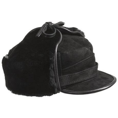 Aston Luxe Shearling Hat (For Men) in Black Suede