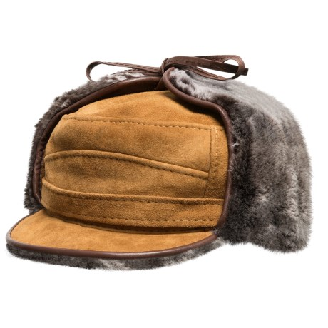 Aston Luxe Shearling Hat (For Men) in Gold Suede