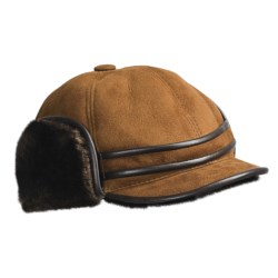 Aston Outdoorsman Sheepskin Hat (For Men) in Suede Gold