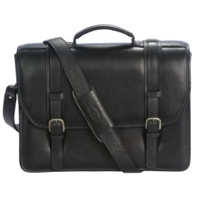 Aston Triple Compartment Briefcase - Leather, Removable Laptop Sleeve in Black - Closeouts