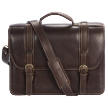 Aston Triple Compartment Briefcase - Leather, Removable Laptop Sleeve in Brown - Closeouts