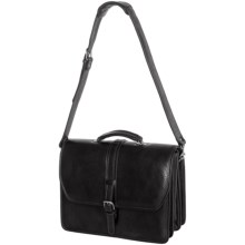 Aston Triple-Compartment Leather Briefcase in Black - Closeouts