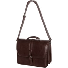 Aston Triple-Compartment Leather Briefcase in Brown - Closeouts