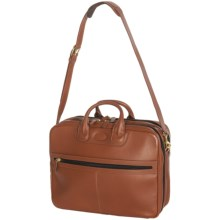 Aston Zip Leather Briefcase with Shoulder Strap in Tan - Closeouts