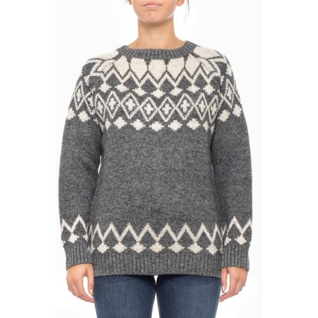 Image of Asymmetric Patterned Pullover Sweater (For Women)