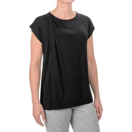 Asymmetrical Draped Shirt - Short Sleeve (For Women) in Black - 2nds