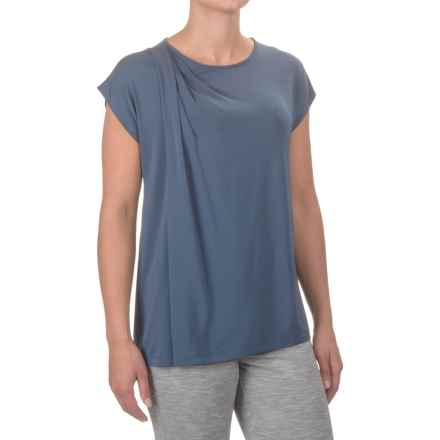 Asymmetrical Draped Shirt - Short Sleeve (For Women) in Blue - 2nds