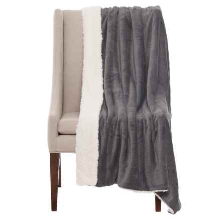 "Atelier Fresco Jacquard Berber Throw Blanket - 50x60"" in Dark Grey - Closeouts"