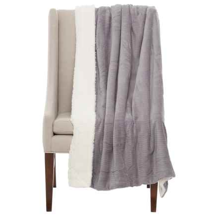 "Atelier Fresco Jacquard Berber Throw Blanket - 50x60"" in Grey - Closeouts"