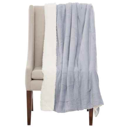 "Atelier Fresco Jacquard Berber Throw Blanket - 50x60"" in Light Grey - Closeouts"