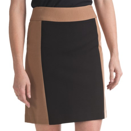 Atelier Luxe Color-Block Pencil Skirt - Ponte Knit (For Women) in Black/Camel