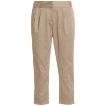 Atelier Luxe Cotton Sateen Capri Pants - Pleated, Cuffed (For Women) in Khaki - Closeouts