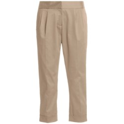 Atelier Luxe Cotton Sateen Capri Pants - Pleated, Cuffed (For Women) in Khaki