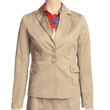 Atelier Luxe Cotton Sateen Jacket (For Women) in Khaki