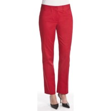 Atelier Luxe Cotton Sateen Pants - Slim Leg (For Women) in Red - Closeouts