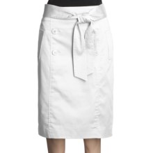 Atelier Luxe Cotton Sateen Skirt - Belted (For Women) in White - Closeouts