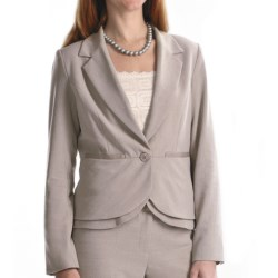 Atelier Luxe Cross-Dye Peplum Jacket (For Women) in Light Grey Heather