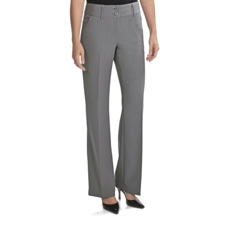 Atelier Luxe Modern Fit Dress Pants - Shadow Stripe (For Women) in Grey