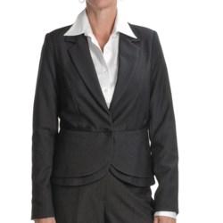 Atelier Luxe Nailhead Peplum Jacket (For Missy Women) in Black