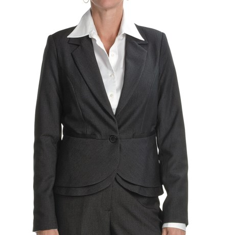 Atelier Luxe Nailhead Peplum Jacket (For Missy Women) in Black