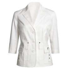 Atelier Stretch Cotton Jacket - 3/4 Sleeve (For Women) in White - Closeouts
