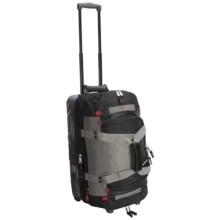 "Athalon Platinum Armored Rolling Duffel Bag - 21"", Detachable Top Section in Silver/Black - Closeouts"