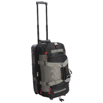 "Athalon Platinum Armored Rolling Duffel Bag - 21"", Detachable Top Section in Silver/Black"