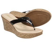Athena Alexander Aloha Sandals - Wedge Heel (For Women) in Black Patent - Closeouts