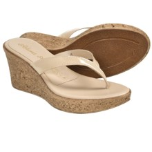 Athena Alexander Aloha Sandals - Wedge Heel (For Women) in Camel Patent - Closeouts