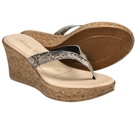 Athena Alexander Aloha Sandals - Wedge Heel (For Women) in Camel Patent