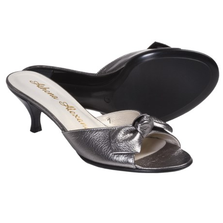 Athena Alexander Becka Sandals - Kitten Heel, Peep Toe (For Women) in Pewter