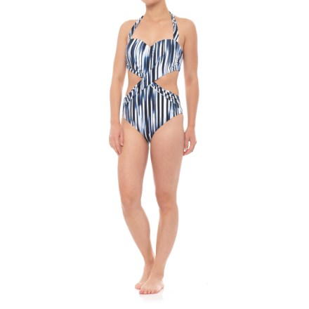 1c4224ff12 Athena Blue Horizon Cutout Shirred One-Piece Swimsuit - Padded Cups (For  Women)