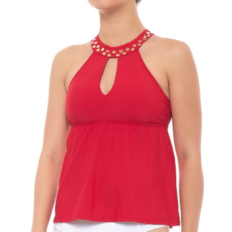 Athena Hey There Stud Fly-Away High Neck Tankini Top - Removable Padded Cups (For Women) in Red