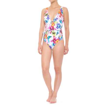 Athena Tropical Trip Belted Plunge Maillot One-Piece Swimsuit (For Women) in Multi - Closeouts