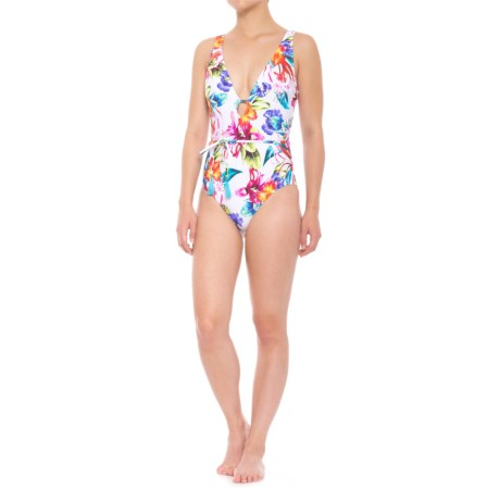Athena Tropical Trip Belted Plunge Maillot One-Piece Swimsuit (For Women) in Multi