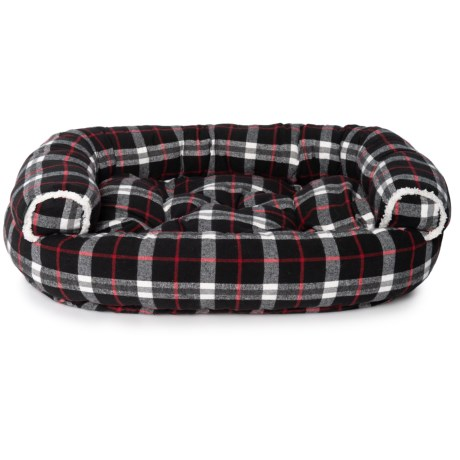 Image of Atticus Plaid Round Couch Bolster Dog Bed - 48x36? Extra Large