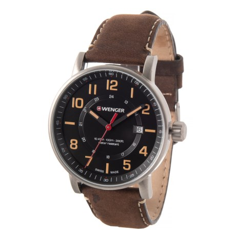 Image of Attitude Outdoor Watch - 43mm, Leather Strap (For Men)