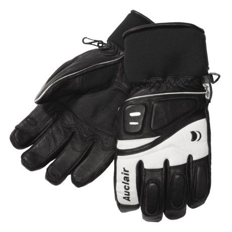 Auclair Adrenaline II Goatskin Ski Gloves - Waterproof, Insulated (For Men) in Black/White