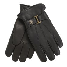 Auclair Auburn Deerskin Buckle Gloves - Insulated, Fleece Lining (For Men) in Black - Closeouts